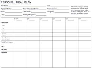 Diabetic Diet Chart Printable -- Daily Diabetes Meal Planning Guide