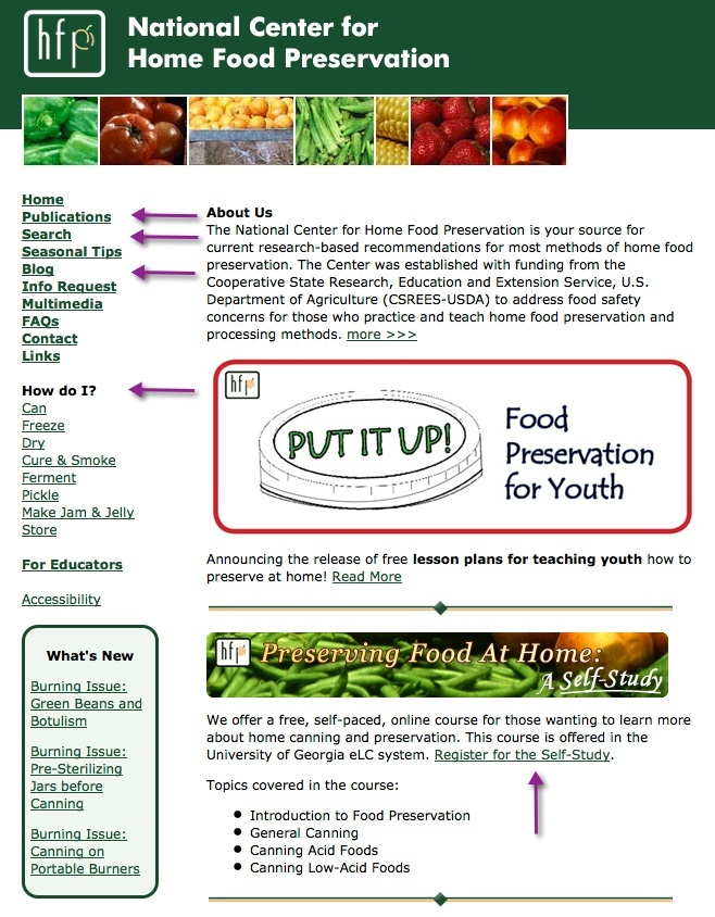 Screenshot of the National Center for Home Food Preservation website
