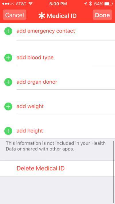 Iphone medical ID8