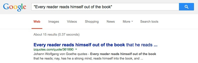 Screenshot of a Google search for a quote.