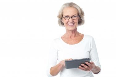 Baby boomer woman with tablet