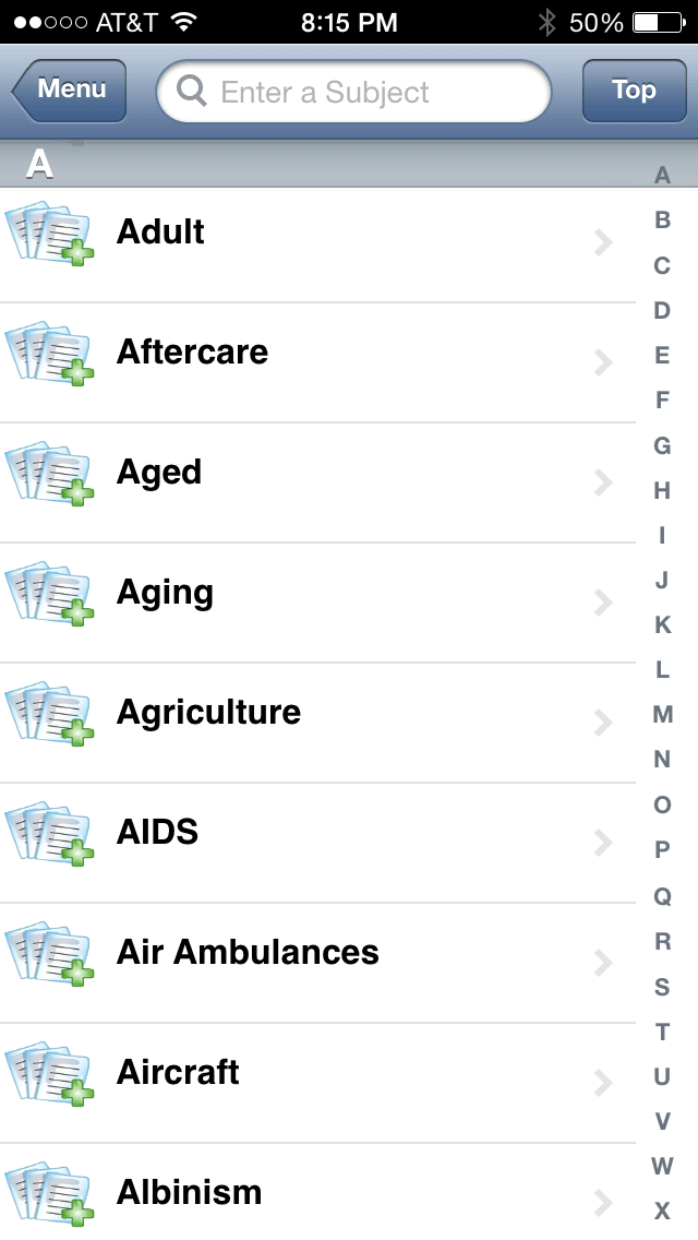 Health Hotlines App browse or search by subject