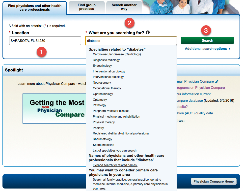 Physician Compare - three easy search steps